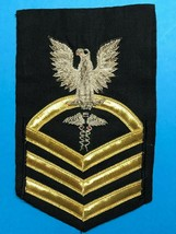 U.S. NAVY, USN, HOSPITAL CORPSMAN, E7 MALE RATING BADGE, VANCHIEF ON BLUE - $19.80