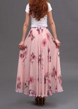 FLORAL Chiffon Long Skirt Dusty Blue Flower Silk Chiffon Skirt Summer Wedding  image 12