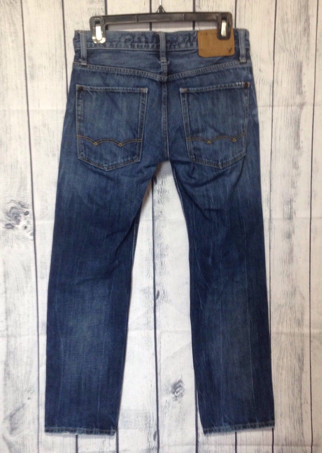 American Eagle Jeans Mens 28x28 Act 32x27 Slim Fit Destroyed Dark Blue Wash