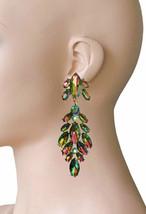 "3.5"" Long Clip On Earrings VITRAIL Acrylic Rhinestones, Drag Queen, Pageant - $18.76"