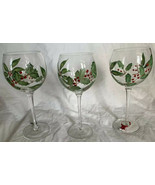 set of 3 Hand Painted Wine Glasses W\ Holly Leaves & Berries EUC Holiday... - $26.72