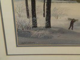 "Vintage Large Framed Matted 37""x 31"" Michel Delacroix Print La Chasse d'Hiver image 4"