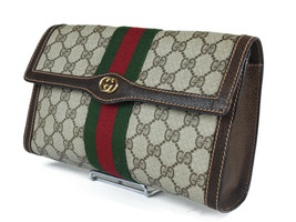 Authentic GUCCI GG Pattern PVC Canvas Leather Browns Clutch Bag GP2118 - $249.00
