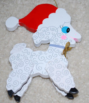 "Vintage Kurt Adler Wood Santa Lamb Sheep Christmas Ornament Decoration 5"" - $13.32"