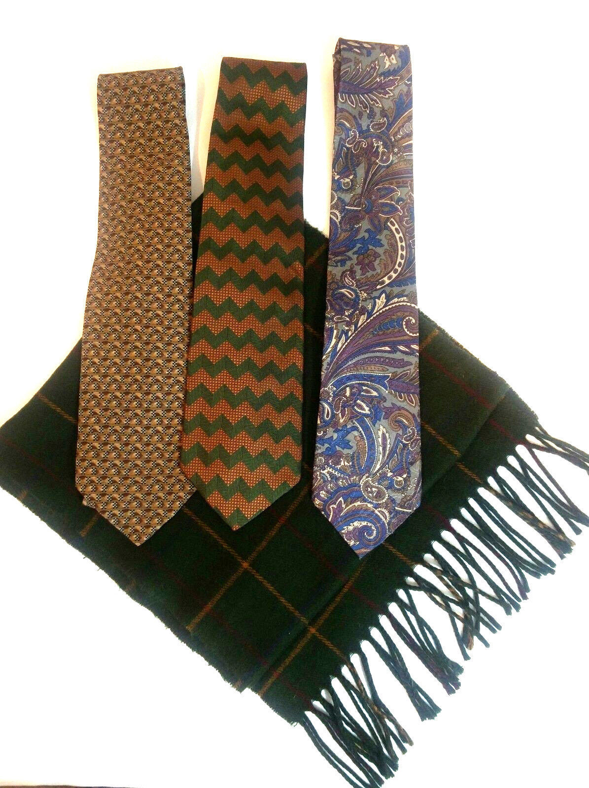 Geoffrey Beene Mens 3 Ties + CashMe Green Plaid Acrylic Scarf Handmade Silk Tie image 2