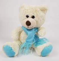 Animal Adventure White Teddy Bear with Blue Scarf Stuffed Toy Animal 9.5... - $17.81