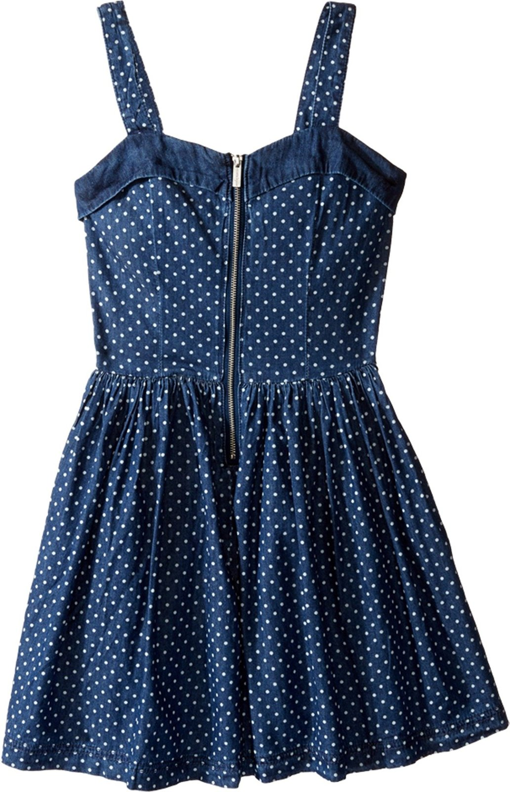 Nanette Lepore Tween Girls 7-16 Zip Front Polka Dot Denim Fit Flare Dress