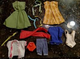 Vtg 1960s Doll Clothes Lot Barbie Midge Swimsuit Yellow Green Dress Belts Shorts - $88.77