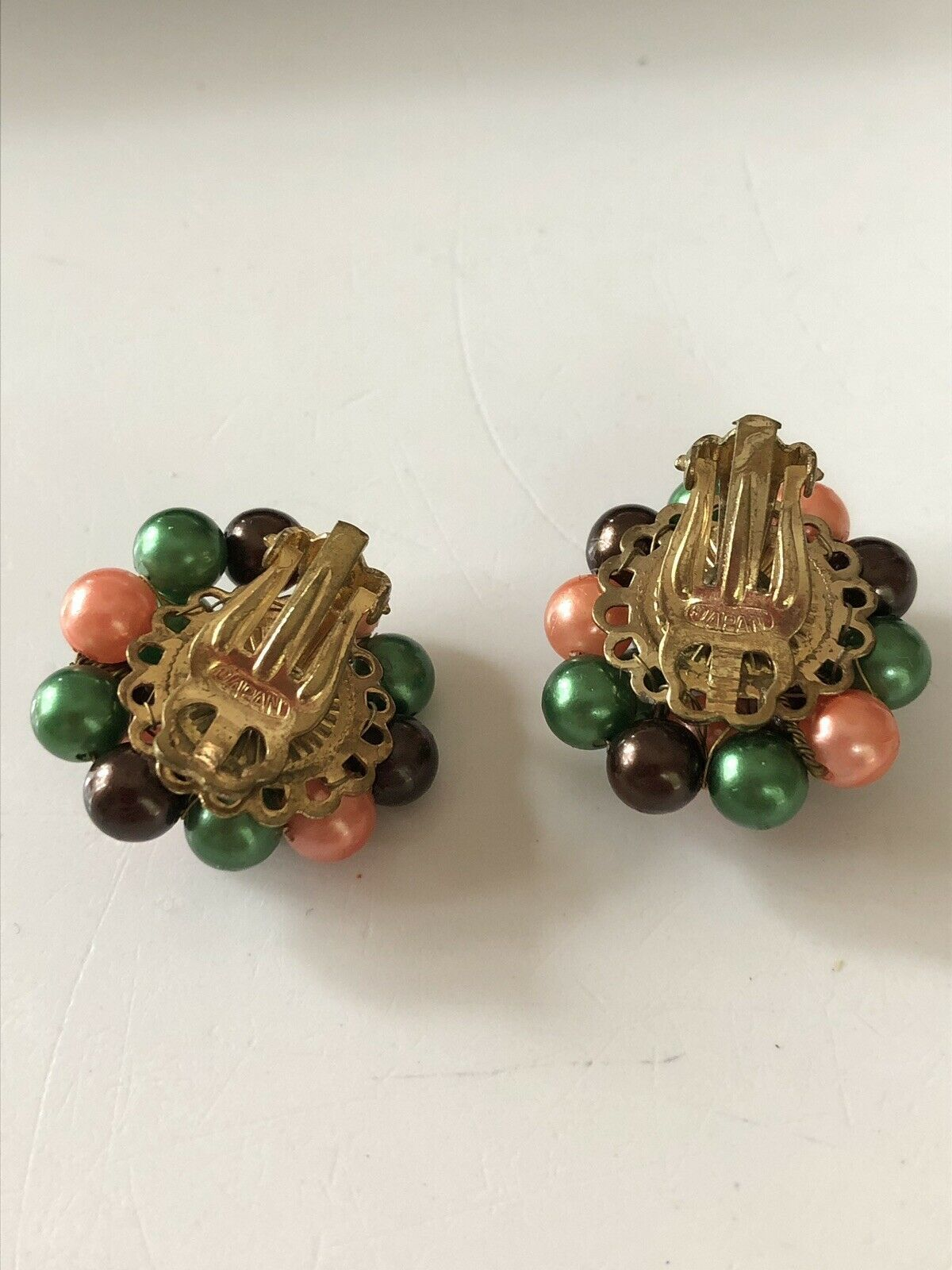 Vintage 50's Mid-Cent Green,Peach and Brown Luster Cluster Earrings Signed Japan