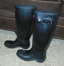 Rubber Rain Boots Womens Original Hunter Black Matte Tall-size 6 - $64.35