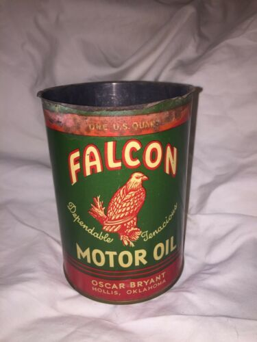 Primary image for Vintage Falcon 1 QT Metal Motor Oil Can Gas Service Station Hollis OK GC no top