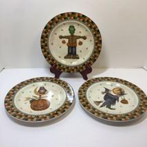 "3 Halloween Salad Plates Debbie Mumm Sakura 8.25"" Frankstein Witch Owl P... - $19.11 CAD"