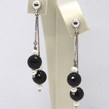 Drop earrings 18k White Gold, White Pearls, Onyx Black Faceted image 1