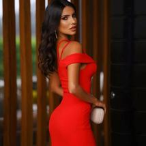 New Summer One Shoulder Sexy Red Sleeveless Bandage Bodycon Party Dress image 3