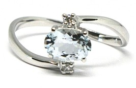 18K WHITE GOLD BAND RING AQUAMARINE 0.65 OVAL CUT & DIAMONDS, MADE IN ITALY image 1