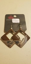 Paparazzi Earrings (New) #828 Silver Squares W/ Wrinkle - $7.61