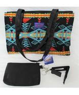 Pendleton Native American Aztec Blk Wool 3 Pc Commuter Bag Purse Accesso... - $159.99
