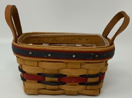 LONGABERGER BASKET & PROTECTOR - 1993 MINI ALL STAR - LEATHER HANDLES 19... - $18.95