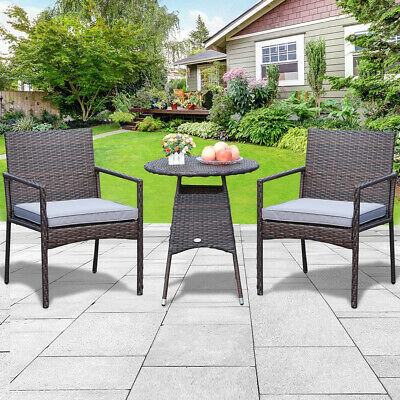 Small Bistro Set Outdoor Rattan Patio Armchair Table Wicker Chair Seat Furniture