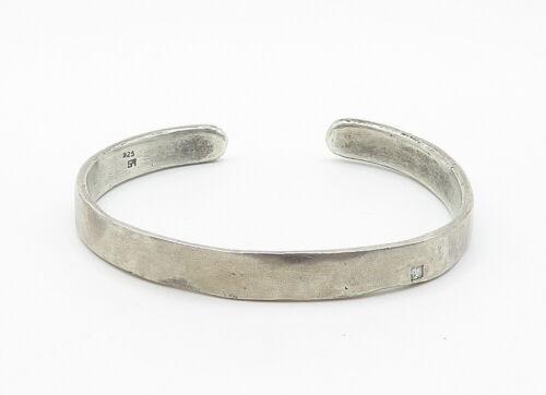 925 Sterling Silver - Vintage .10 Carat Genuine Diamond Cuff Bracelet - B6175 image 2