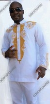 Odeneho Wear Men's White Polished Cotton Outfit./ Embroidery.African Clothing. - $138.60+