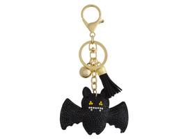Black Bat Faux Suede Tassel Stuffed Pillow Key Chain Handbag Charm - $12.95