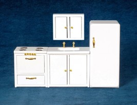 Dollhouse Miniature Modern Kitchen Set, 4 pc, White #T5777 - $41.33