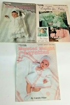3 Vintage Baby Crochet Patterns Layette Afghans Booties Sweater Hat Leisure Arts - $14.62