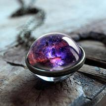 2019 New Galaxy Double Sided Pendant Outer Space Necklace Universe Silve... - $3.99