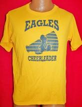 Vintage 80s EAGLES CHEERLEADERS 50/50 Yellow T-SHIRT M Soft Thin Vtg - $19.79