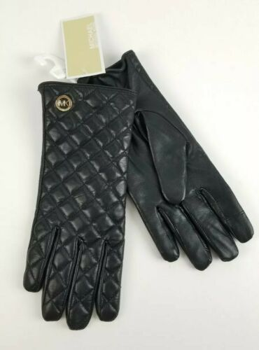 Primary image for $98 Micheal Kors Black Leather Quilted Tech Gloves MK Gold Charm Logo Size L