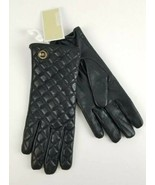 $98 Micheal Kors Black Leather Quilted Tech Gloves MK Gold Charm Logo Si... - $50.48