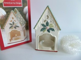 "Lenox Holly Winter Greetings Birdhouse Votives Candle Holder Porcelain 5"" - $9.49"