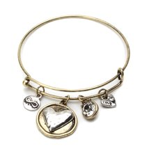 Inspired Silver Silver Love Charms Rustic Gold Finished Bangle Bracelet ... - $19.55