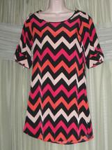 Charlotte Russe Dress Size Xs Pink Black Zigzag Short Sleeve Mini Midi - $17.99