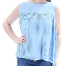 Calvin Klein NEW Blue Women's Size Medium PM Petite LARGE Pleated Blouse... - $19.80
