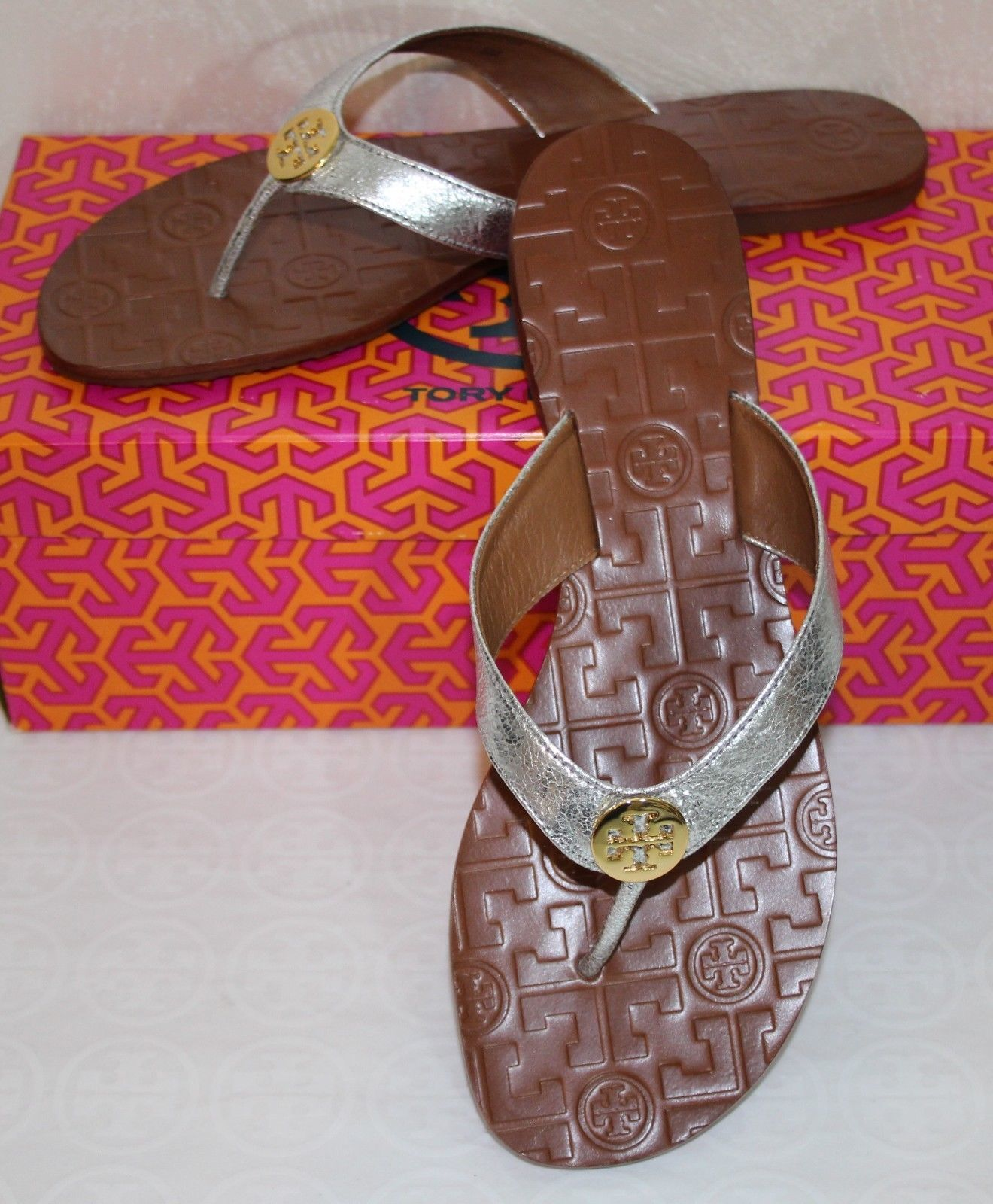 91c0ebed707 57. 57. Previous. Tory Burch Thora Size 8 Metallic Silver Leather Flat  Thong Sandals · Tory Burch ...