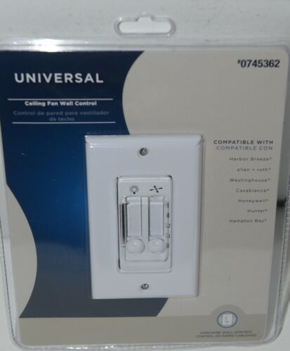 Harbor Breeze 0745362 Universal Ceiling Fan Wall Control White Pkg 1