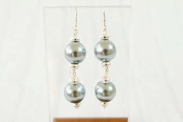 Classic Grey Shell Pearl and Silver Dangle Earrings, Gray Bridesmaid Ear... - $11.00