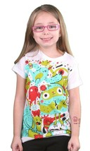Iron Fist Girls White Party Critters Monsters Youth Little Big Kids T-Shirt NWT