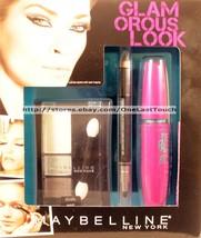 MAYBELLINE* 3pc GLAMOROUS LOOK Eye Shadow+Eyeliner+Mascara IMPECCABLE GR... - $10.60