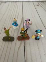 Disney Mini Figures Lot Of 5 Alice Mickey Minnie Peter Pan Robin Hood - $17.82