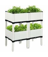 Set of 4 Elevated Flower Vegetable Herb Grow Planter Box - Color: White - £113.95 GBP