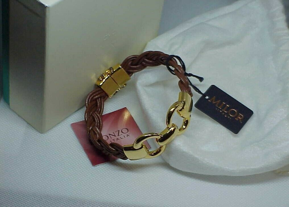 """Bronzo Italy Yellow Gold Status Brown Braided link Leather Bracelet 8"""" QVC NewBX"""