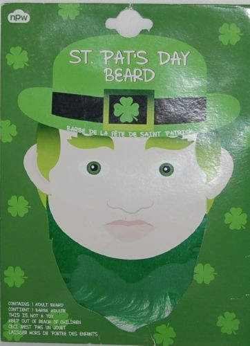 npw St Pats Day Leprechaun Beard Color Green Size Adult Polyester