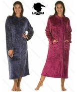 Ladies Zip Gown Womens Soft Feel Embossed Robe Wrap Size UK S-XL NEW - $27.92
