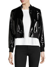 Black Tar Shining Cropped Bomber Women's Genuine Lambskin Leather biker ... - $169.00