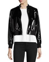 Black Tar Shining Cropped Bomber Women's Genuine Lambskin Leather biker ... - $169.00