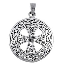 Large 925 Sterling Silver Cross Pendant with Celtic Weave + FREE Cable C... - $31.66