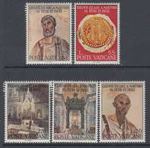 Saints Peter and Paul Set of 5 Vatican Postage Stamps Catalog Number 448-52 MNH